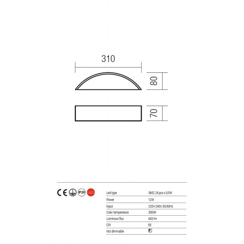 Aplică ZOOM echipată cu LED-uri SMD structură din metal alb mat dispersor din sticlă satinată 01-1125 Redo