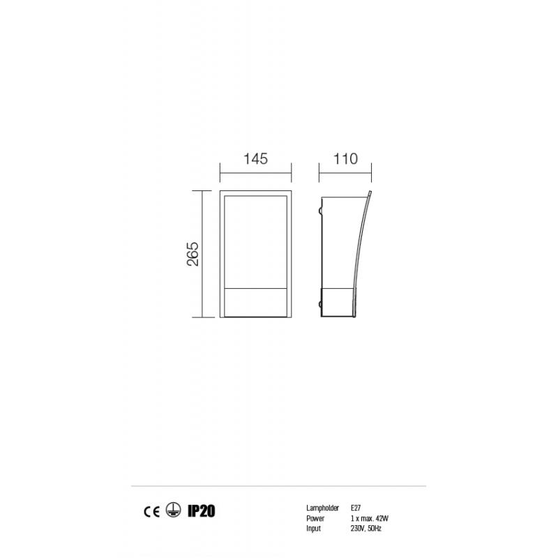 Aplică pentru interior Lucio, corp din inox eloxat, dispersoare din sticlă sablată cu margine transparentă. 01-750 Redo