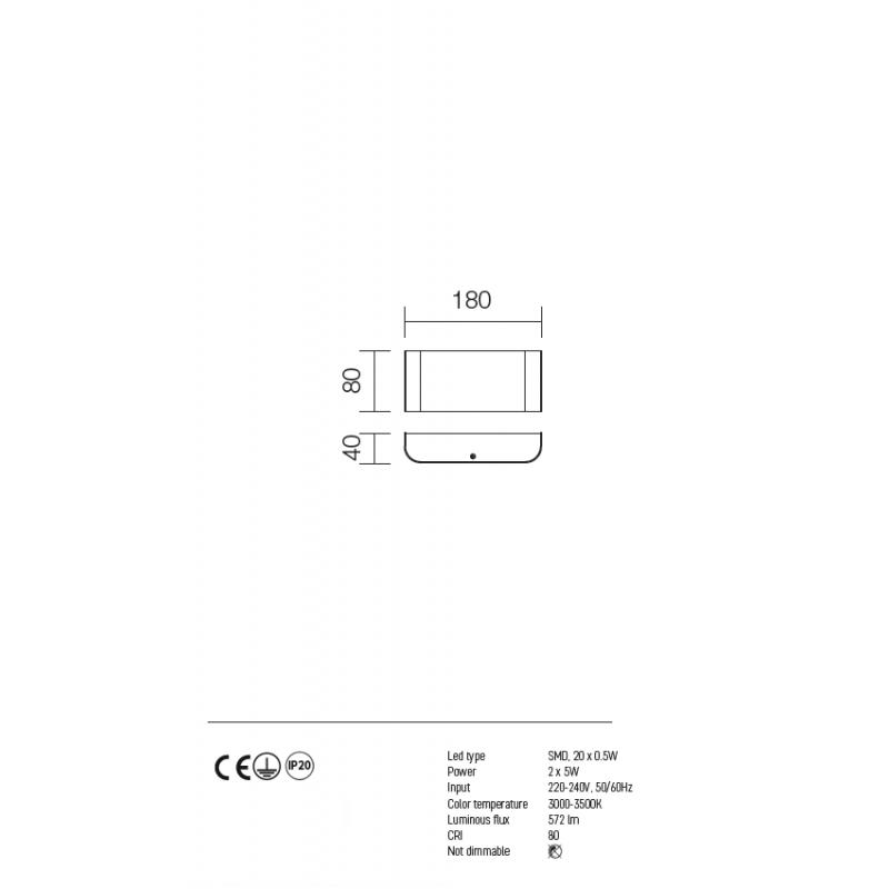 Aplica Ledy pentru interior echipata cu LED-uri SMD cu dispersie directa/ indirecta a luminii 01-753 Redo