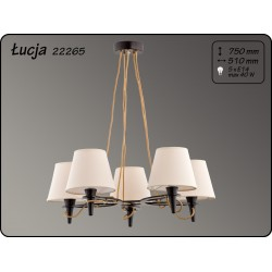 Lustra Lucja Cappucino structura din lemn si abajur textil 22265 Alfa