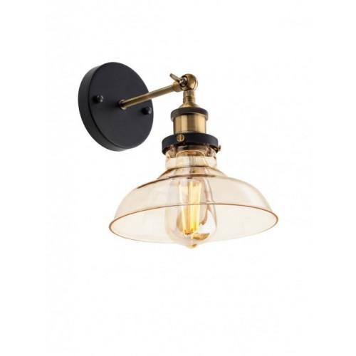 Aplica Saville structura din metal negru/bronz antic dispersor sticla ambra 01-1026 redo