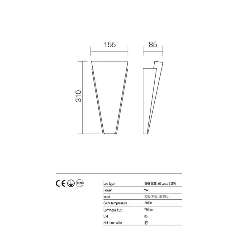 Aplica Flame echipata cu LED structura metal alb dispersor sticla opala 01-1087 Redo
