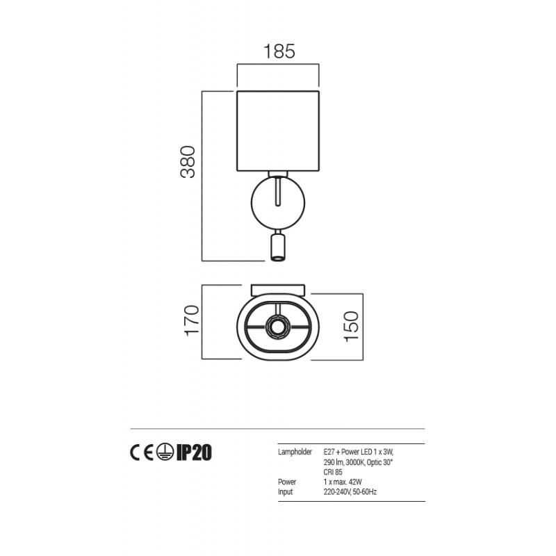 Aplica Piccadilly structura nichel satinat abajur gri tortora E27 01-1151 SN + SCW TR Redo