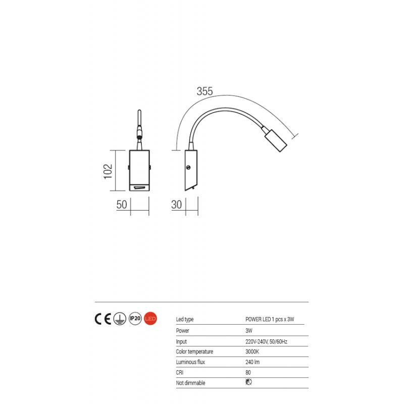 Aplica Hello echipata LED structura metal negru mat 01-1194 Redo