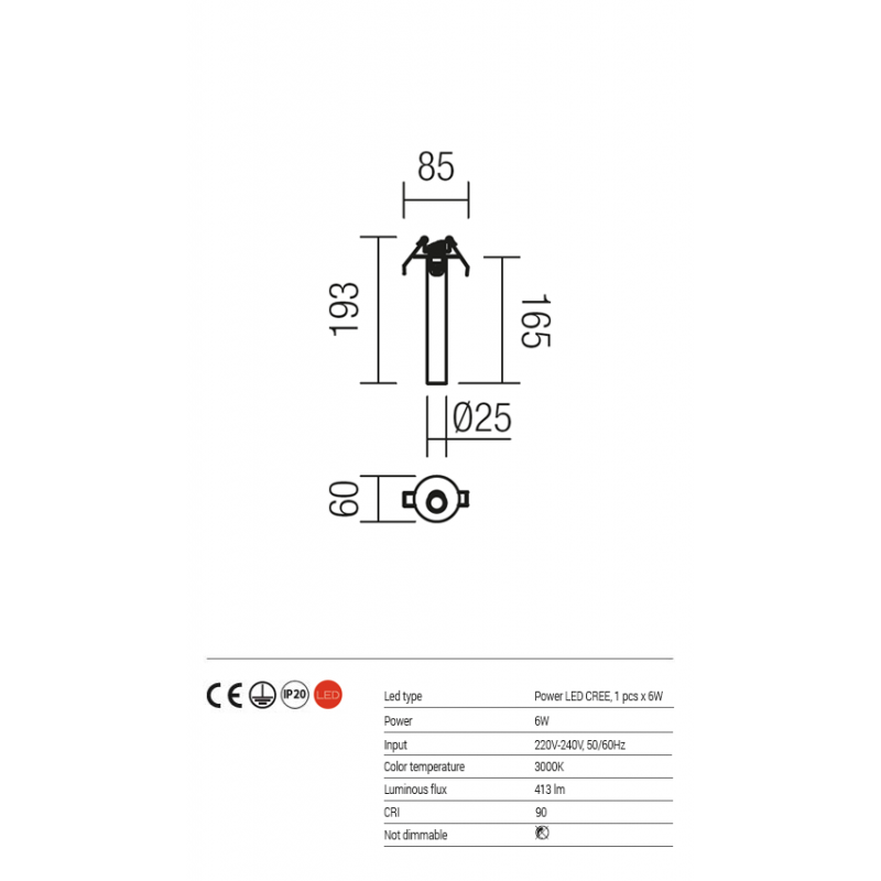 Aplica/Plafoniera Kanji de incastrat pentru interior echipata cu POWER LED vopsita in alb mat 01-1216 Redo