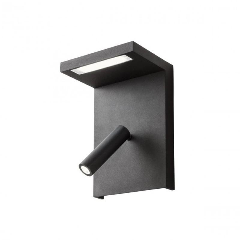 Aplica Agos echipata LED structura aluminiu negru cu port USB , intrerupator, polita 01-1500 Redo