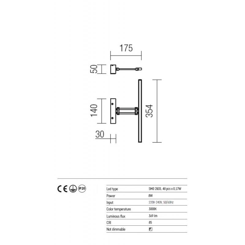 Aplica Linear pentru interior echipata cu LED SMD structura din metal nichel satinat 01-452 Redo