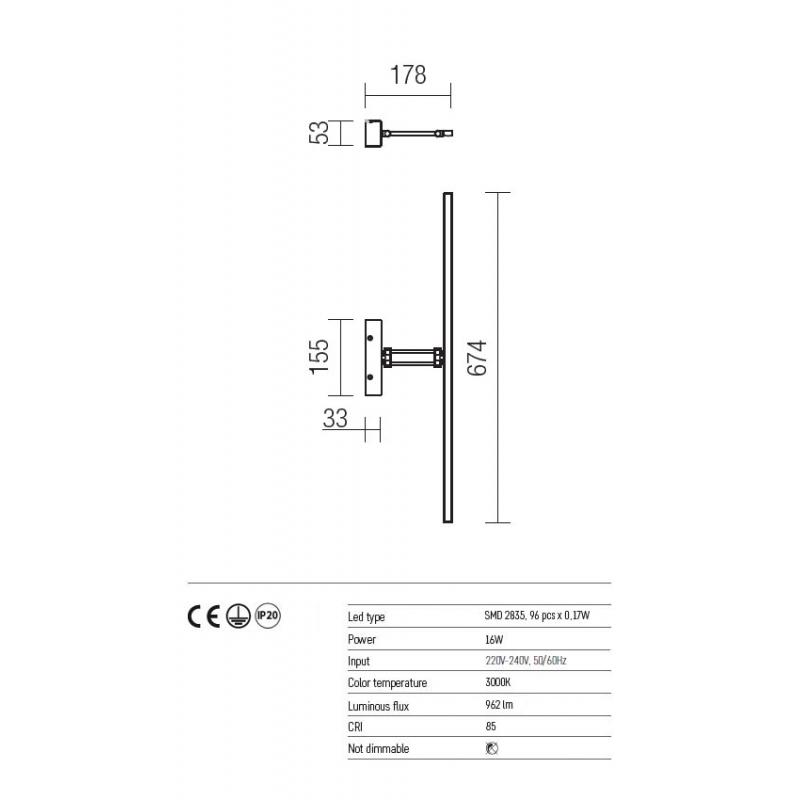 Aplica Linear pentru interior echipata cu LED SMD structura din metal nichel satinat 01-454 Redo