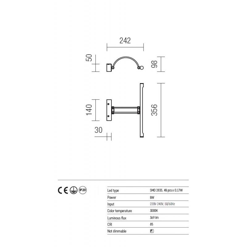 Aplica Ikon echipata LED structura metal alama antica 01-457 Redo