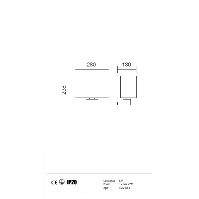 Aplica Enjoy structura din metal cu abajur maro 01-678 BR