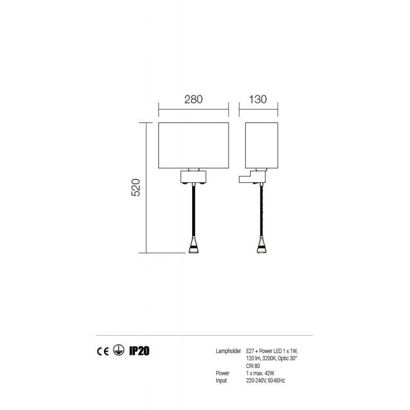 Aplica cu brat flexibil Enjoy structura din metal cu abajur maro 01-679 BR Redo