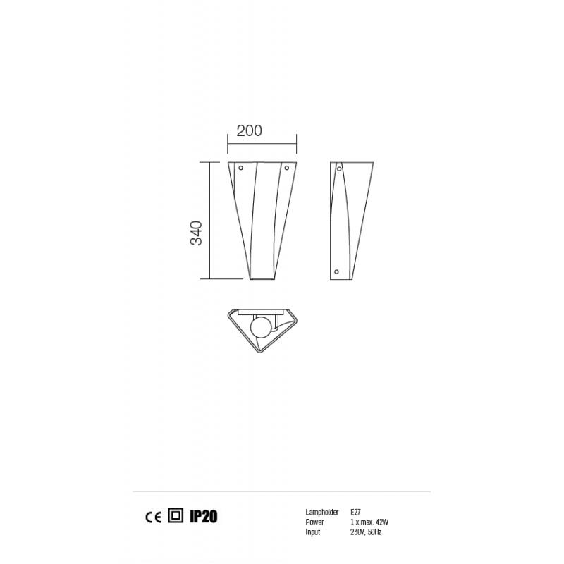 Aplica Suede structura din metal nichelat cu abajur din sticla 01-719 Redo