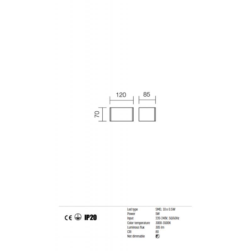Aplica Avenue echipat cu LED structura metalica alb mat 01-755 Redo