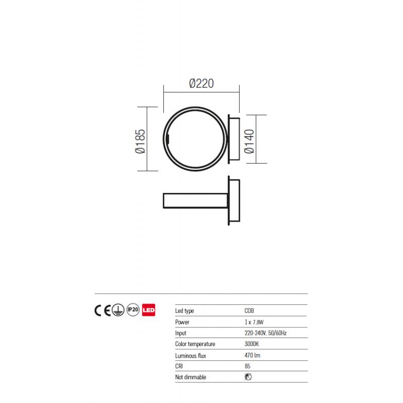 Aplica/Plafoniera Atomo echipata cu LED structura metal alb mat cu negru 01-947 Redo
