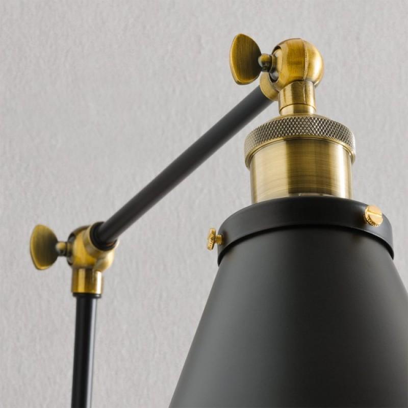 Aplica Vellum cu brat reglabil negru mat cu elemente din alamă turnata 02-378 Redo