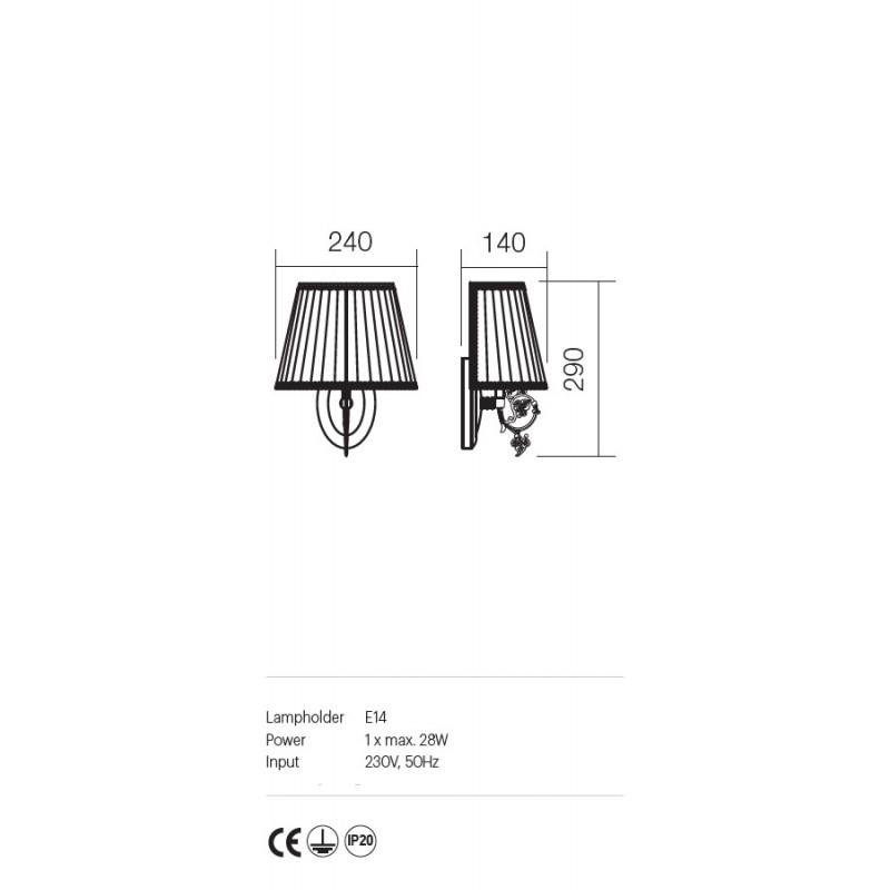 Aplica Ilaria structura metalica abajur textil 02-656 Incanti