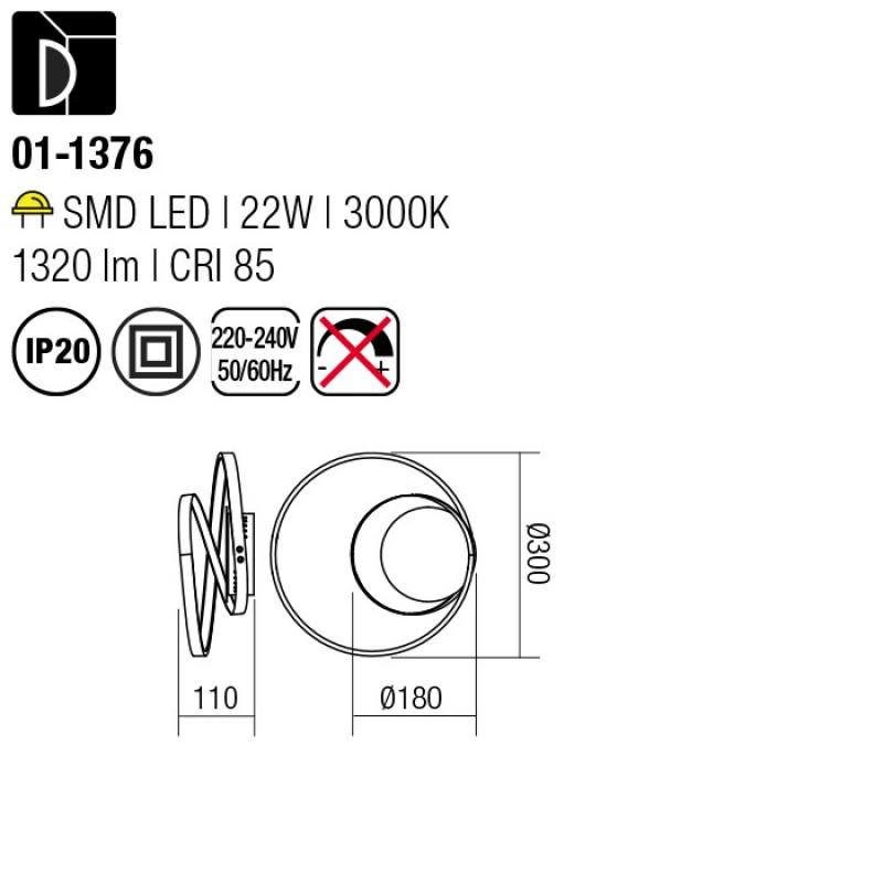 Aplica Avenir structura din aluminiu si dispersor satinat 01-1376 Smarter