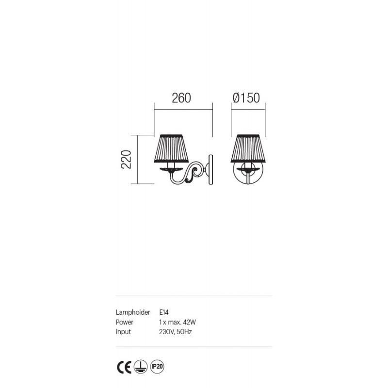 Aplica Cloe structura metalica abajur sifon si dantela ICL W1 14 01 Incanti