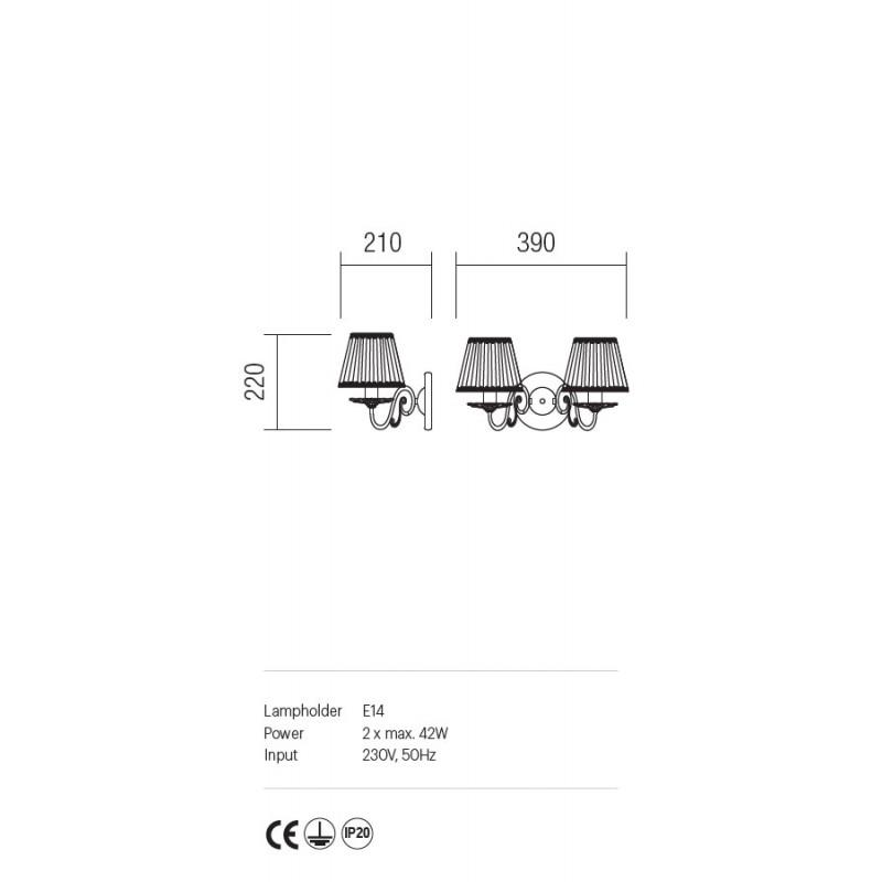 Aplica Cloe strcutura metalica abajur sifon si dantela ICL W2 14 01 Incanti