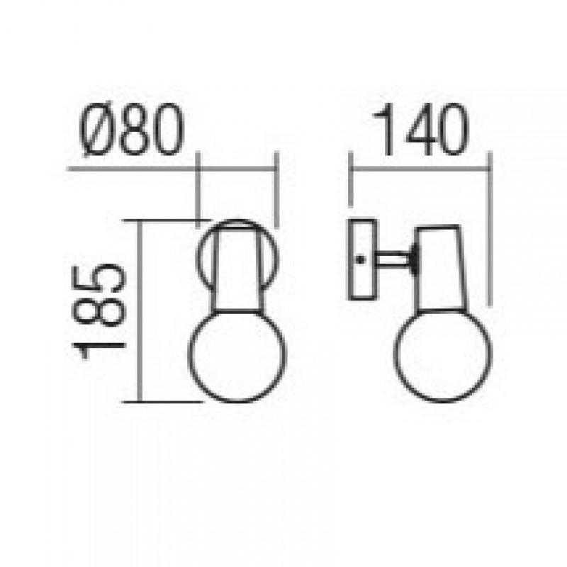 Aplica Dekra 04-499, 1 x E27, negru mat + cupru
