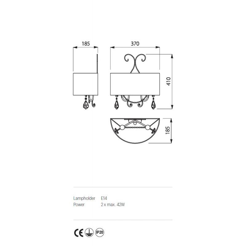 Aplica Desiderio structura metalica abajur tip crepon IDE W2 Incanti