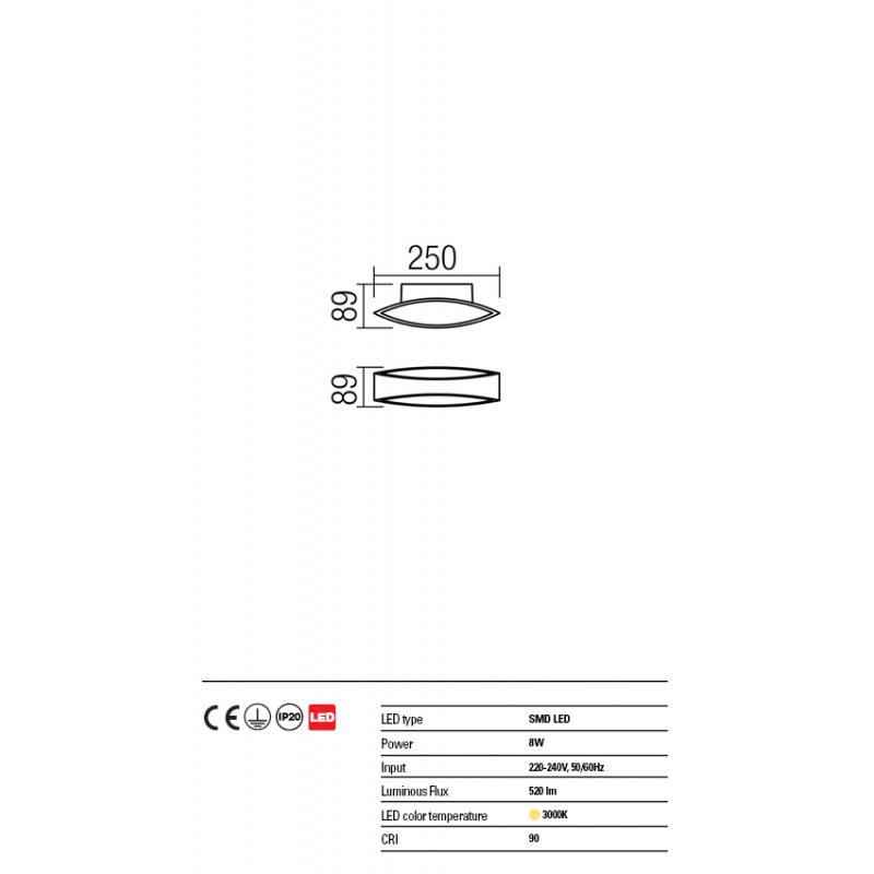 Aplica Eigher din aluminiu cu Led-uri SMD 01-1329 Redo