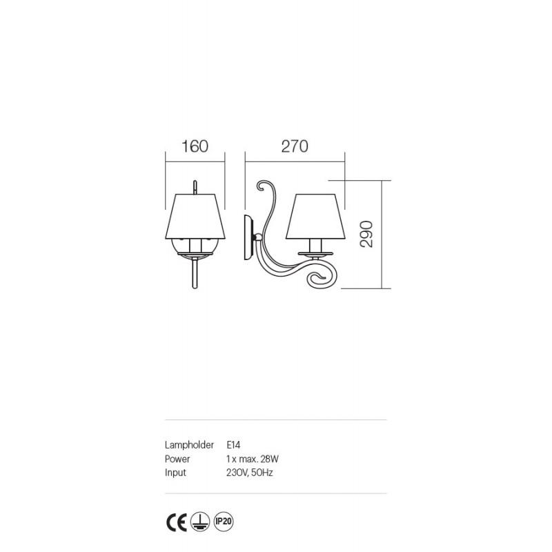 Aplica Ema structura metalica abajur textil 02-594 Incanti