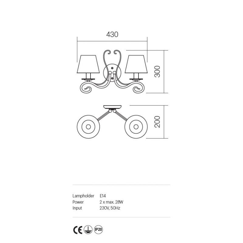 Aplica Ema structura metalica abajur textil 02-595 Incanti