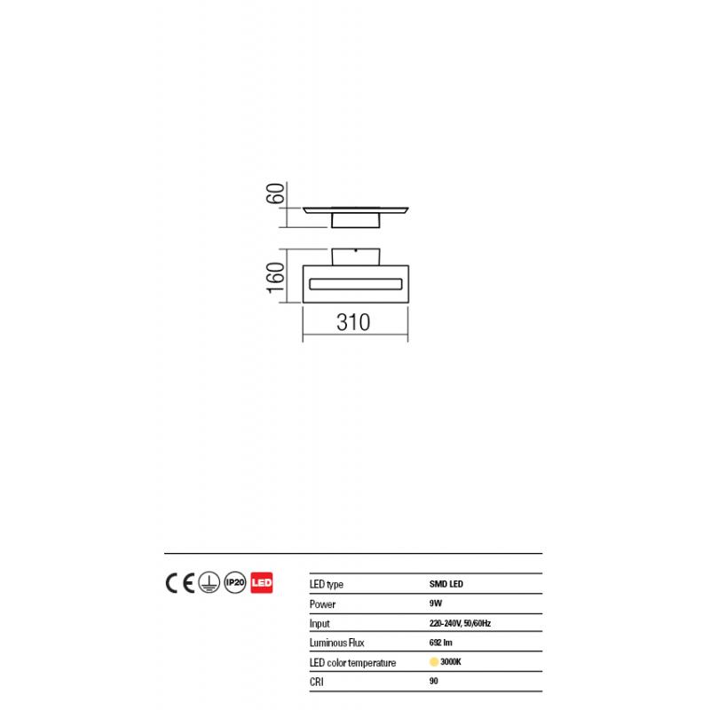 Aplica Exod din aluminiu cu Led-uri SMD culoare negru mat 01-1338 Redo