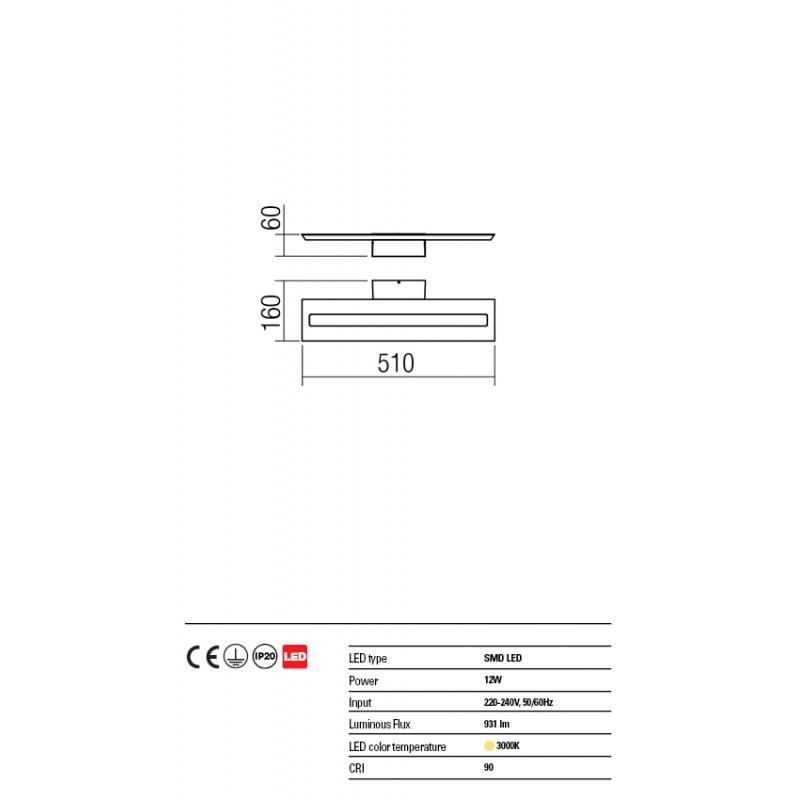 Aplica Exod din aluminiu cu Led-uri SMD culoare negru mat 01-1340 Redo