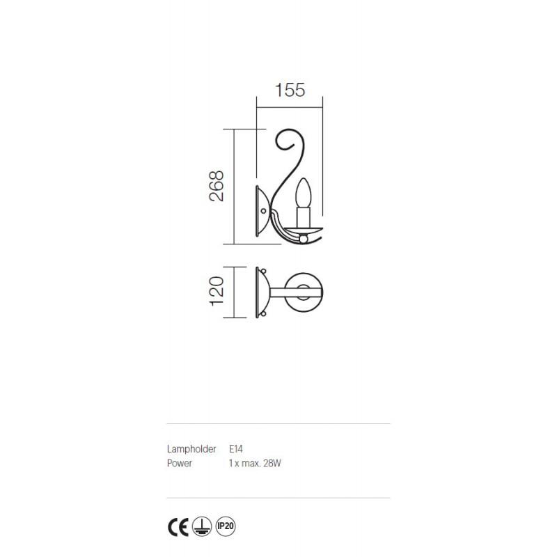 Aplica Fenice structura metalica finisaj aur patinat 02-806 Incanti