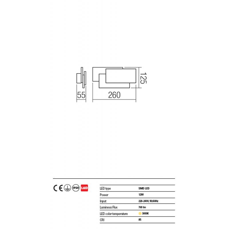 Aplica Gamer din aluminiu cu Led-uri SMD culoare alb mat 01-1444 Redo