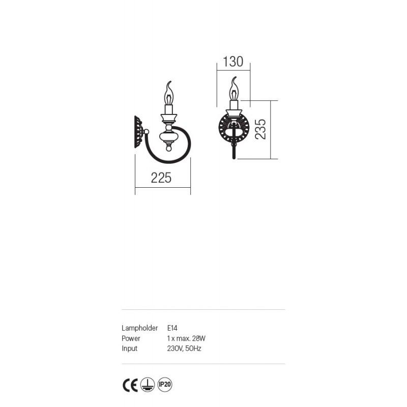 Aplica Fabula structura metal si ceramica IFB W1 14 Incanti