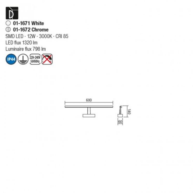 Aplica LED pentru baie Neptune, crom, LED, 12W, 60 cm, 01-1672
