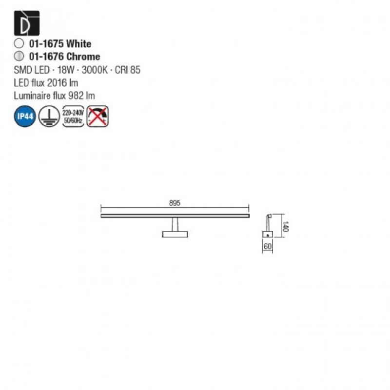 Aplica LED pentru baie Neptune, crom, LED, 18W, 90 cm, 01-1676
