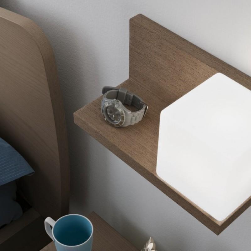 Aplica Nook pentru interior structura din lemn furniruit wenge cu abajur din sticla dreapta 01-1210 Redo