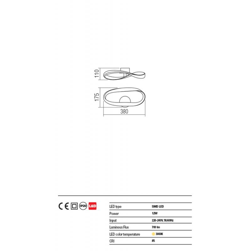 Aplica Nubo strctura din aluminiu si metal cu Led-uri SMD 01-1413 Redo