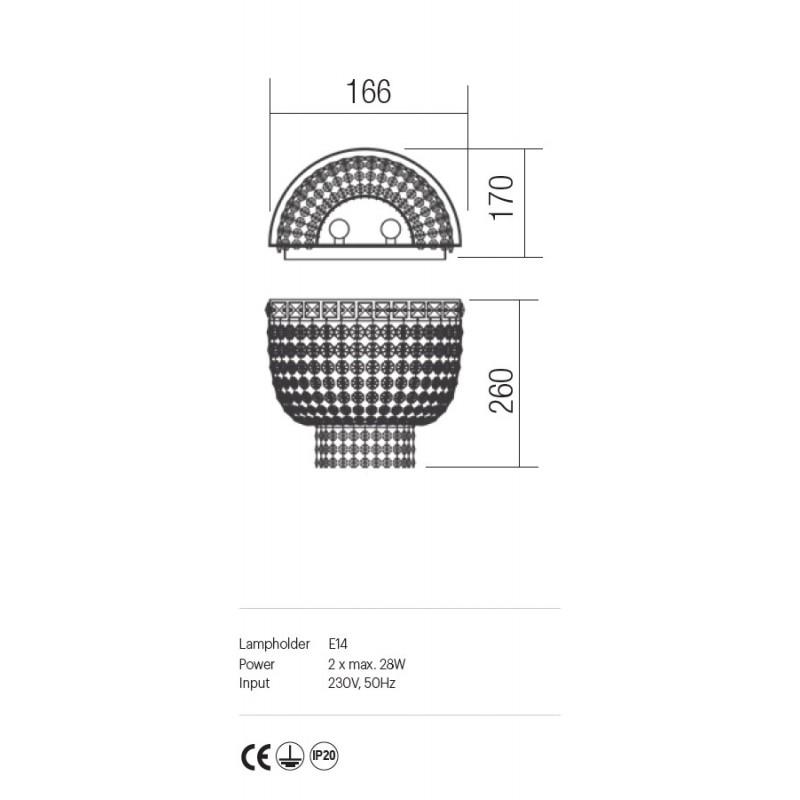 Aplica Queen structura din metal crom IQN W1S 11 60 Incanti