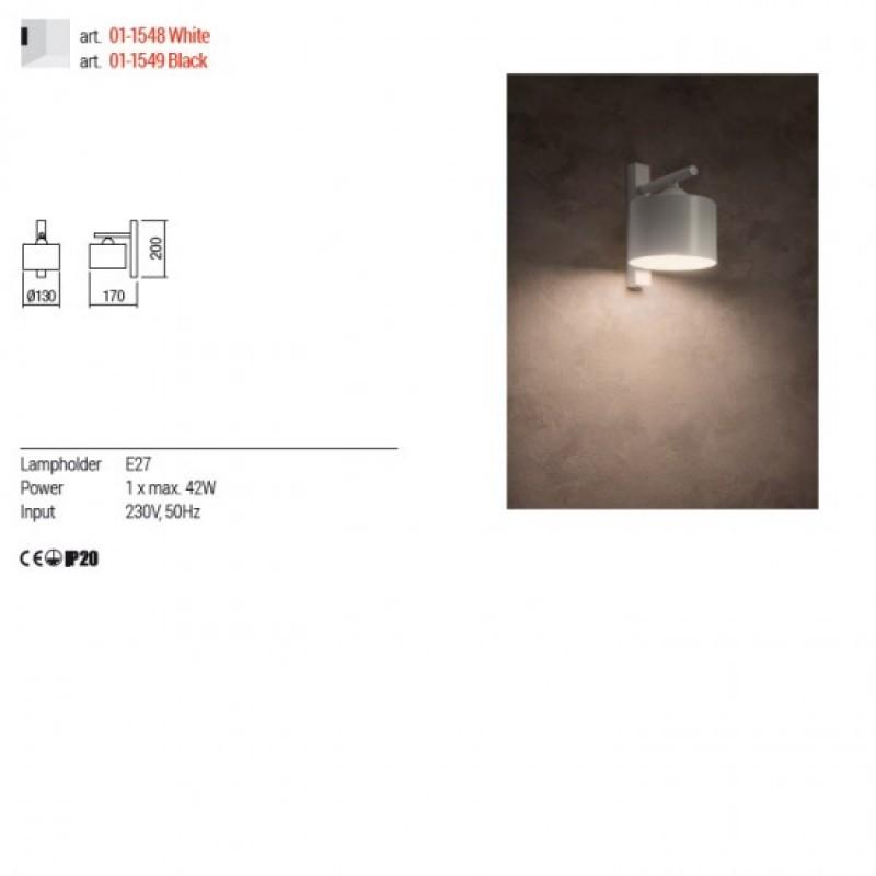 Aplica Redo Miller - 01-1548 - alb mat, 1XE27