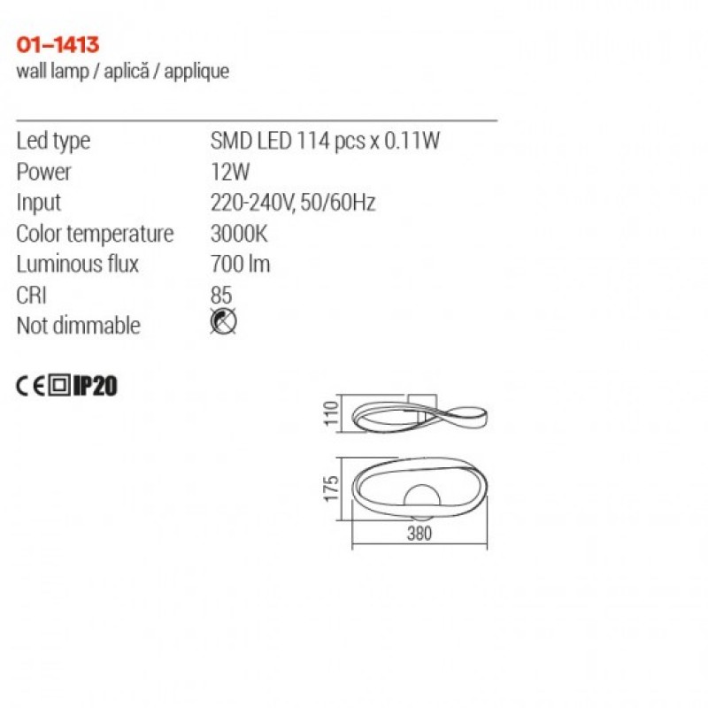 Aplica Redo Nubo - 01-1413 -  structura din aluminiu si metal cu Led-uri SMD