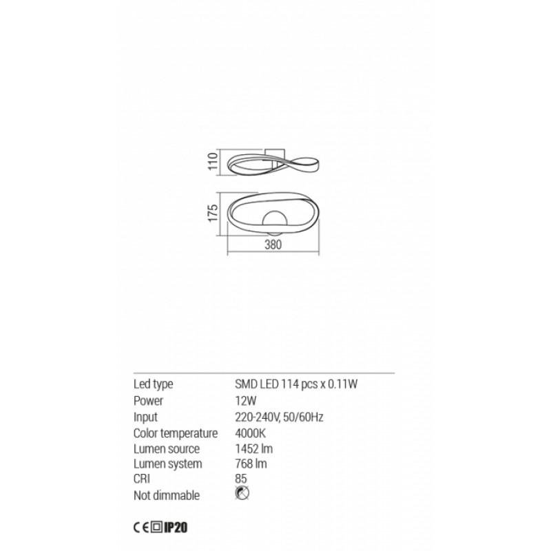 Aplica Redo Nubo - 01-1528 - 1x12W 4000K 768lm Nedimabila IP20