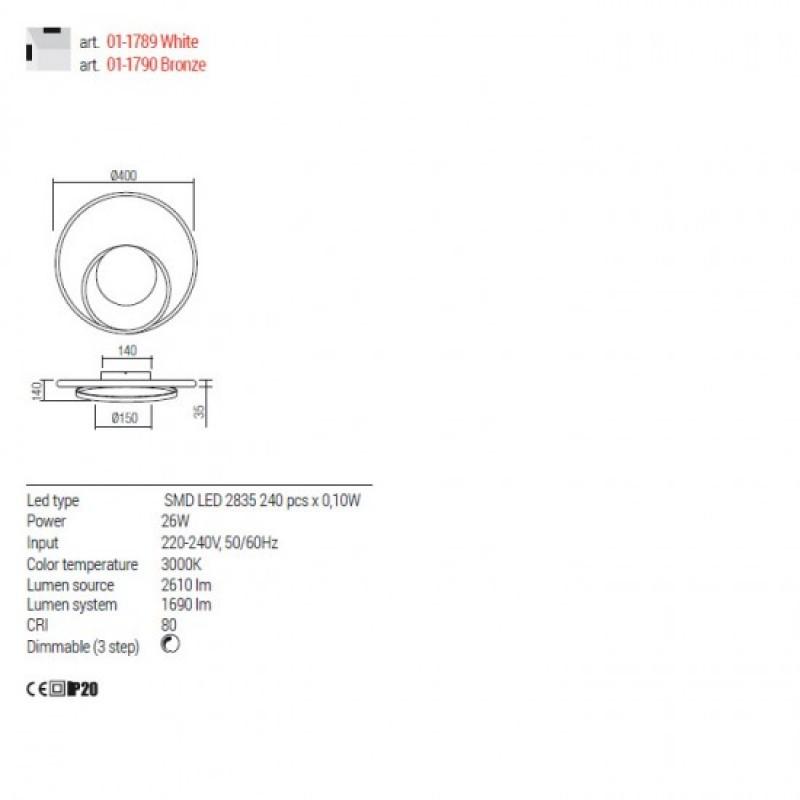 Aplica Redo Torsion - 01-1790 - bronz, LED, 26W, 1690 lumeni, alb cald 3000K