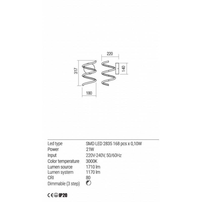 Aplica Redo Vuelta LED Negru mat -  01-1775 - 21W 1710/1170 lumeni alb cald 3000K Dimabila (3 trepte)