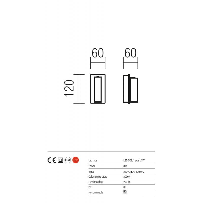 Aplica Rod pentru interior echipata cu LED COB structura din metal vopsit in camp electostatic negru mat 01-1202 Redo