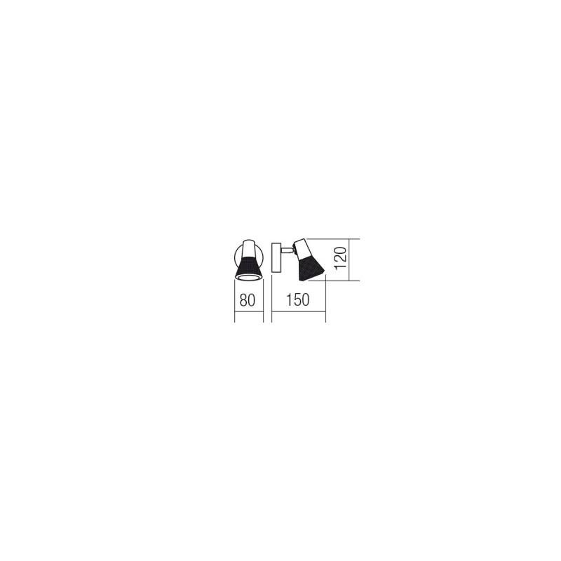 Aplica Ronin 04-456, 1 x E14, negru + cupru