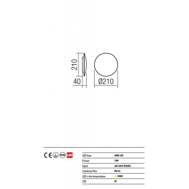 Aplica Umbra din aluminiu cu Led-uri SMD culoare alb mat 01-1333 Redo