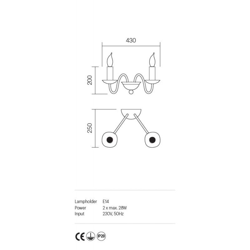Aplica Yvette structura metalica finisaj avorio 02-770 Incanti