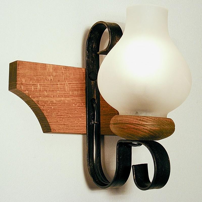 Aplica Vela din lemn de fag rustica si abajur opait 0206 Omnia