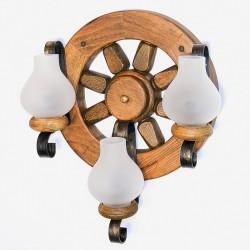 Aplica Roata din lemn masiv de fag si abajur tip opait 2576 Omnia