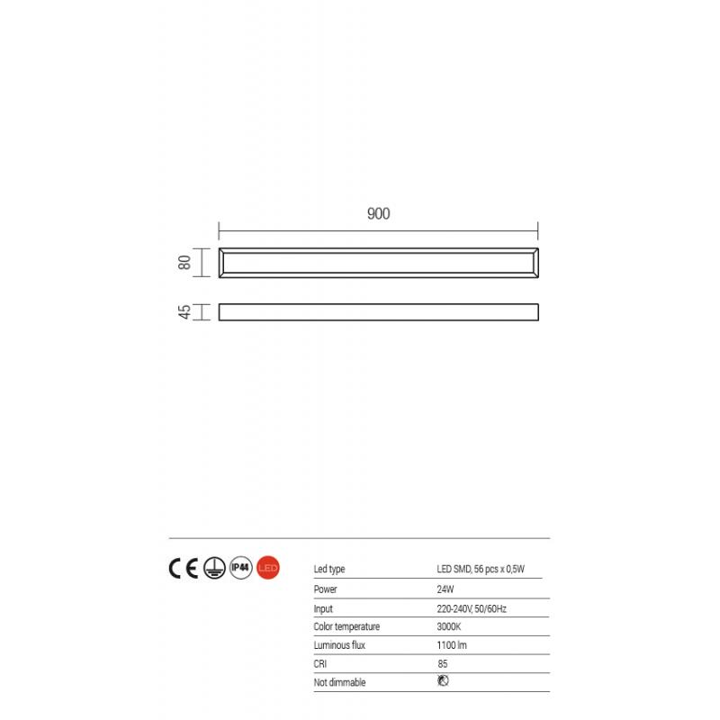 Aplica baie Horizon echipata cu LED structura din metal cromat 01-1131 Redo